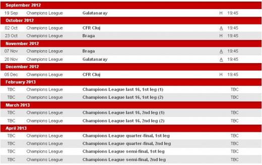 Manchester United Fixtures 2012/2013 Season