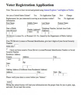 Eligible citizens must register to vote by filling out and filing a form like this one.
