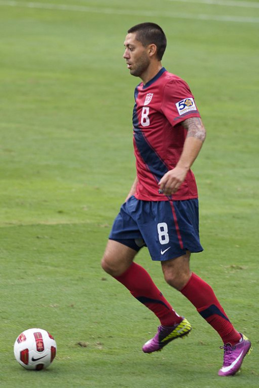Clint Dempsey playing for the USA Men's National Soccer Team.
