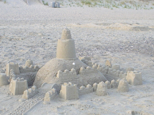 An abandoned sand castle sits on the beach. (Taken at Atlantic Beach, N.C.)
