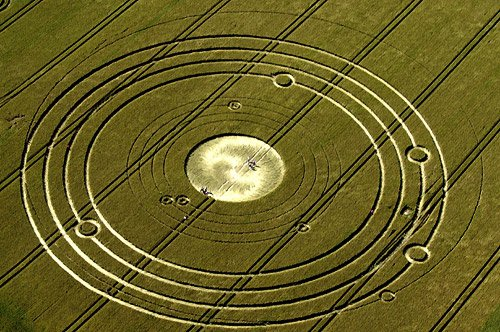 Perhaps the most famous of all Crop Circles this one depicts our solar system alignment on December 21, 2012 the end of the Maya long count calendar.