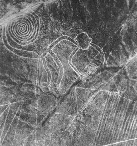 Monkey clearly depicted in Nazca lines in southern Peru. Nazca lines geoglyphs.