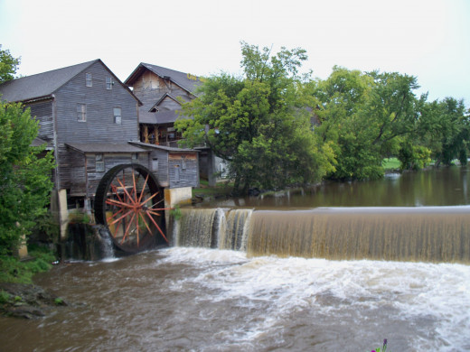 Old Mill Square as viewed from the bridge over the Little Pigeon River.
