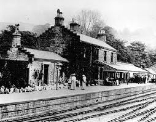 An old view of nearby Pateley Bridge station, the gateway to Upper Nidderdale - the station area is now a camping site