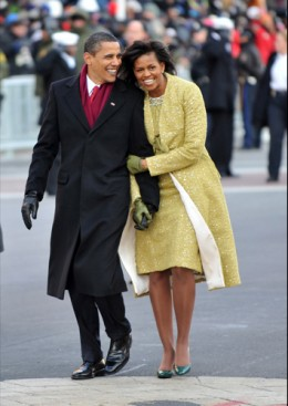 President Barack Obama and First Lady Michelle On Inaugeration Day 2009