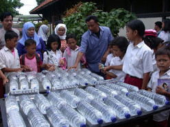 SODIS project in Indonesia. Local leaders are trained to spread the word and show how solar water disinfection works.