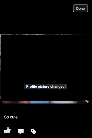 You'll finally see the Profile Picture Changed message.