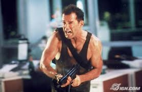 Die Hard starring Bruce Willis is a great action film that has had many sequels. Willis plays a cop who always ends up right in the thick of things.