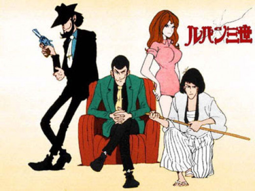 Lupin III cast: Goemon, Jigens, the femme fatale Fujiko and Lupin himself at the center.