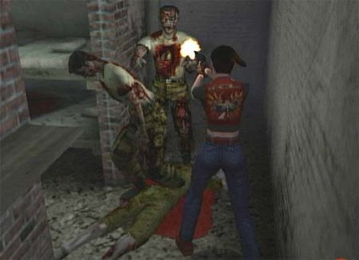 Screen shot of Claire fighting off the infected in Resident Evil Code: Veronica