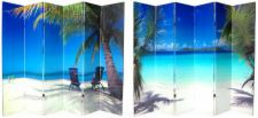 6 Panel folding screen for beach theme decorating