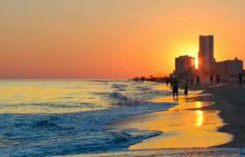 Gulf Shores, Alabama has a beautiful sunset view from the beach.
