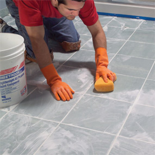 Cleaning the grout off of the tile