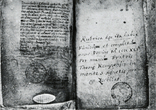 The written copy manuscript of The Imitation of Christ by Thomas à Kempis . Royal Library, Brussels.