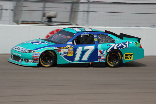 Matt Kenseth racing his #17 around the track at a NASCAR race
