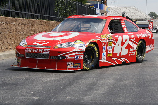 Juan Pablo Montoya's #42 machine excluding damage from wrecking into a jet dryer.