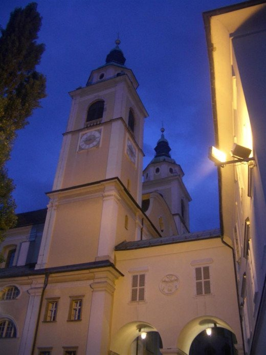 Night scene - one of the city's many beautiful churches.