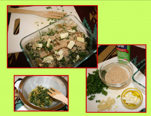 Ingredients, press excess water out of the cooked Swiss chard.
