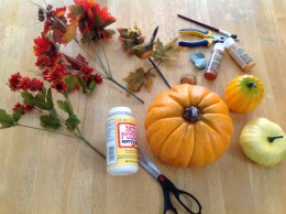 Making a tabletop arrangement for fall decorating requires simple supplies.