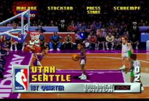 NBA Jam features outrageous slams and half court dunks. The music is intense and the slams are over the top to say the least.