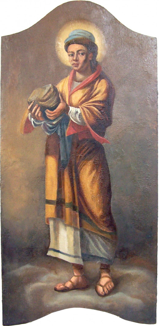 The picture is a Greek Catholic icon depicting the prophet Habakkuk with a rock in his hand. The icon was painted in the end of the 18th century as part of the iconostasis of the Greek Catholic Cathedral of Hajdúdorog, Hungary. Habakkuk's icon is pl