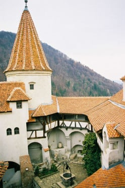 A courtyard view of Romania's Bran Castle.