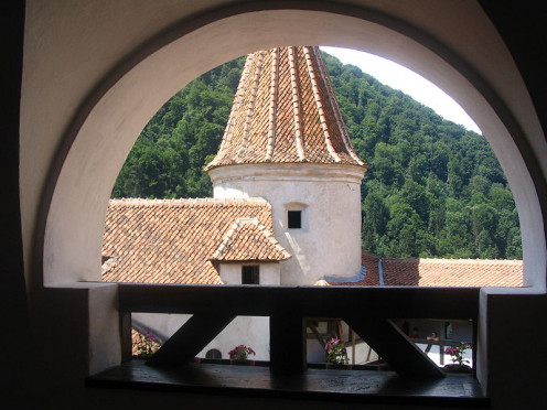 A view from a walkway inside Bran Castle / Dracula's Castle near Brasov, Romania.