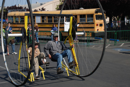 These are the biggest bike wheels ever. There's little risk of falling off, unlike some of the other bikes but the seats do rock back and forth like a porch swing. The person on the left pedals the left and the one on the right pedals the right.