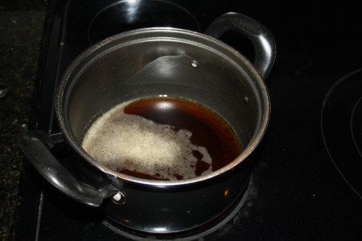 Put the cola in the pan and boiled it for about a minute and a half.