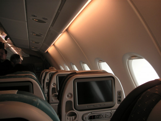 Economy cabin on board SQ's B777-300ER