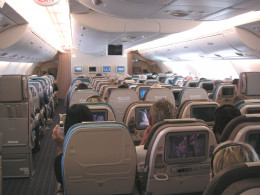 SQ's upper deck economy cabin on their A380