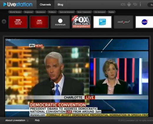Screenshot of LiveStation livestream of Sky News