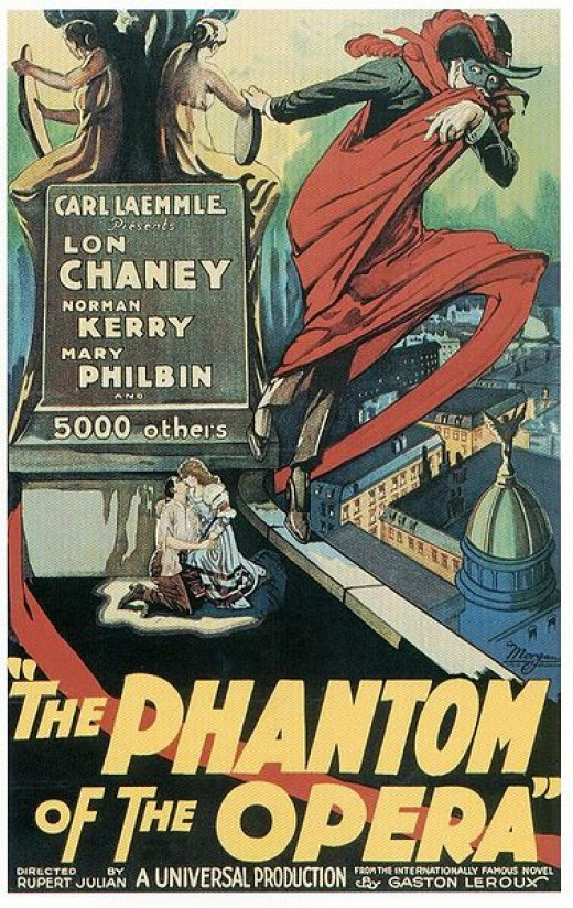Before The Phantom of the Opera was a Broadway show, it was a movie. This is a poster from the 1925 film version of Phantom. It is in the public domain in the United States because it was published between 1923 and 1977 without a copyright notice.