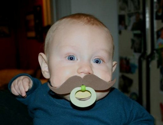 Hipster Baby Binky captures how cool a handlebar mustache can really be!