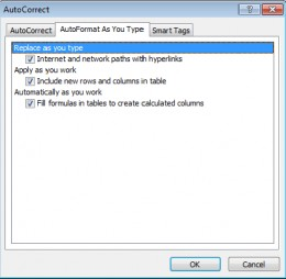 Ensure Excel 2007 is configured correctly to auto correct Tables.