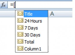 Using table column headers for formulas in Excel 2007.