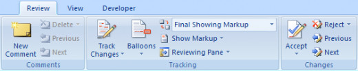 The Review tab in Word 2007 is used to track changes in a document.