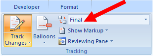 Final showing Markup should be adjusted when editing document in Word 2007 to Final.