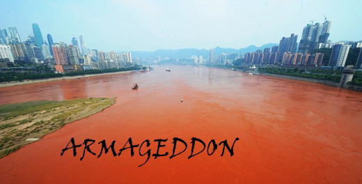 The River Yangtze in Chonqing, South-Western China after it turned red (orange)