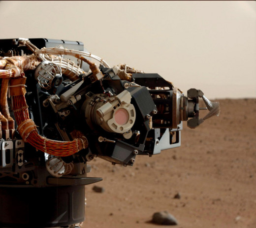 Mars Hand Lens Imager (MAHLI) on NASA's Curiosity rover as seen by the rover's Mast Camera (Mastcam).