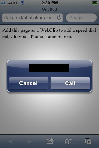 """The Web page with the action options appears again. Tap """"Call."""""""