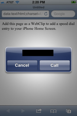 "The Web page with the action options appears again. Tap ""Call."""
