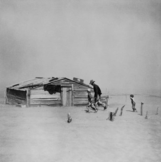 A dust storm in Cimarron County, Oklahoma - one of the hardest hits area during the Great Depression