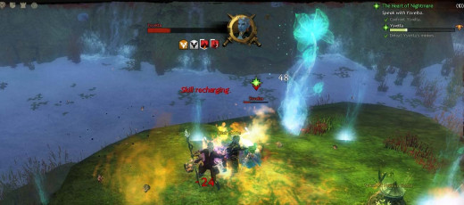 Guild Wars 2 the Heart of Nightmare Quest - defeating Ysvelta is easier with Tiachren and the meteor shower spell