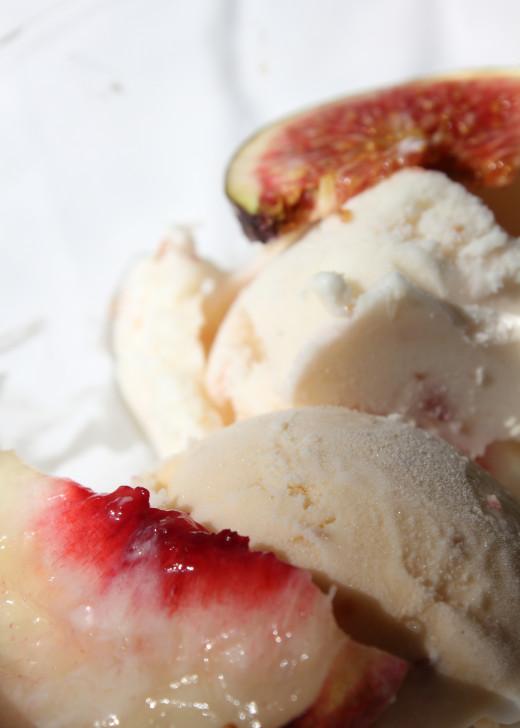 White peach & lavender creme fraiche ice cream, shown with fig & walnut goat cheese ice cream.
