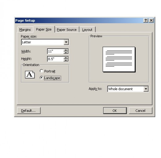 Fig 2.  Selecting Landscape View.