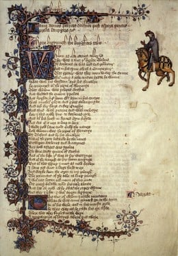 The first page of The Knights Tale with illustrations