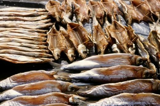 Omul fish, endemic to Lake Baikal (Russia). Smoked and on sale at Listyanka market.