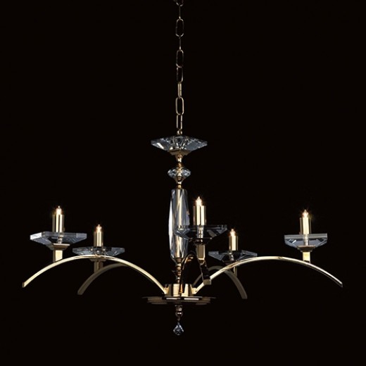Starlite Gold Plated and Glass 5 Light Chandelier