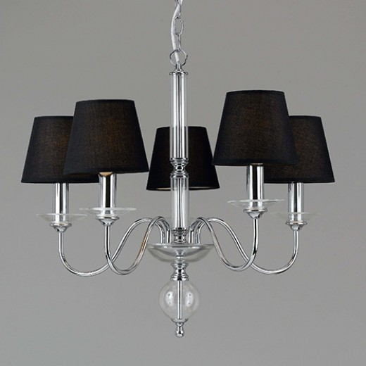 Chrome 5 Light Chandelier with Black Fabric Shades